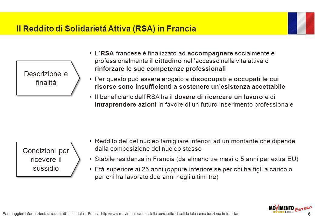 Il Reddito di Solidarietá Attiva (RSA) in Francia