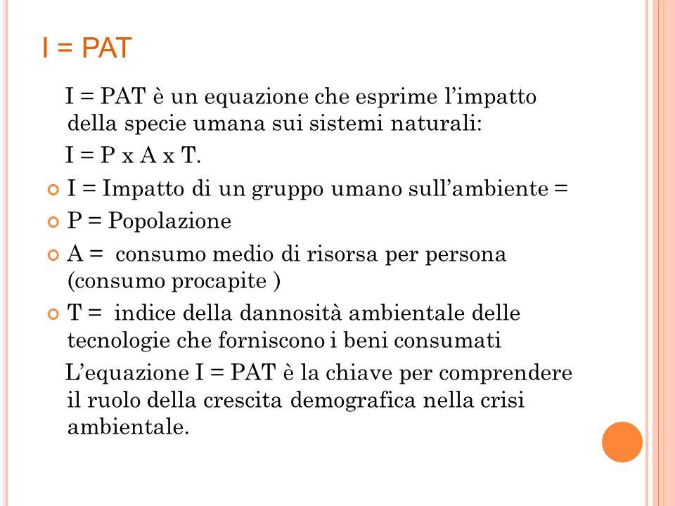 I = PAT I = PAT è un equazione che esprime l'impatto della specie umana sui sistemi naturali: I = P x A x T.