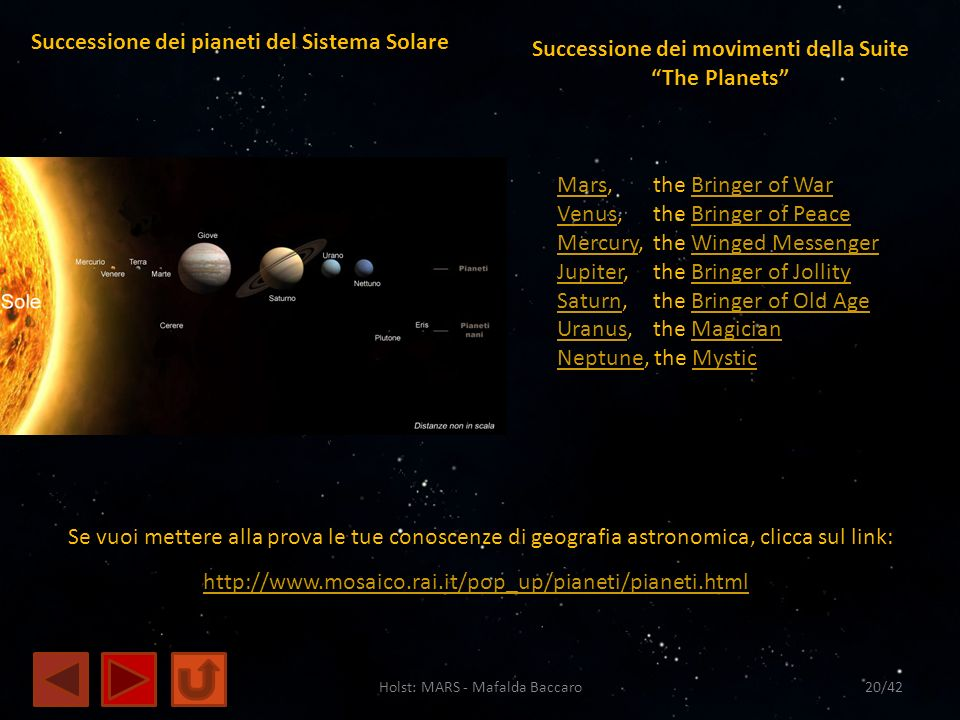 Successione dei movimenti della Suite The Planets