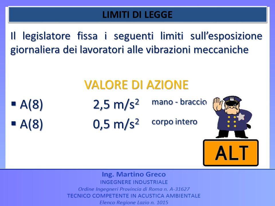 VALORE DI AZIONE A(8) 2,5 m/s2 mano - braccio