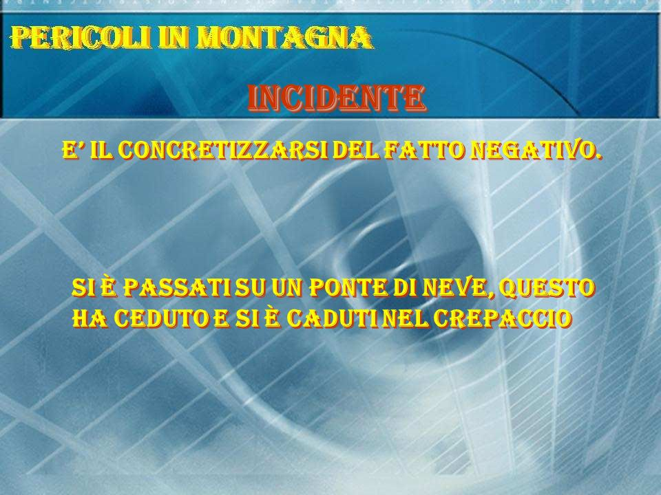INCIDENTE E' il concretizzarsi del fatto negativo.