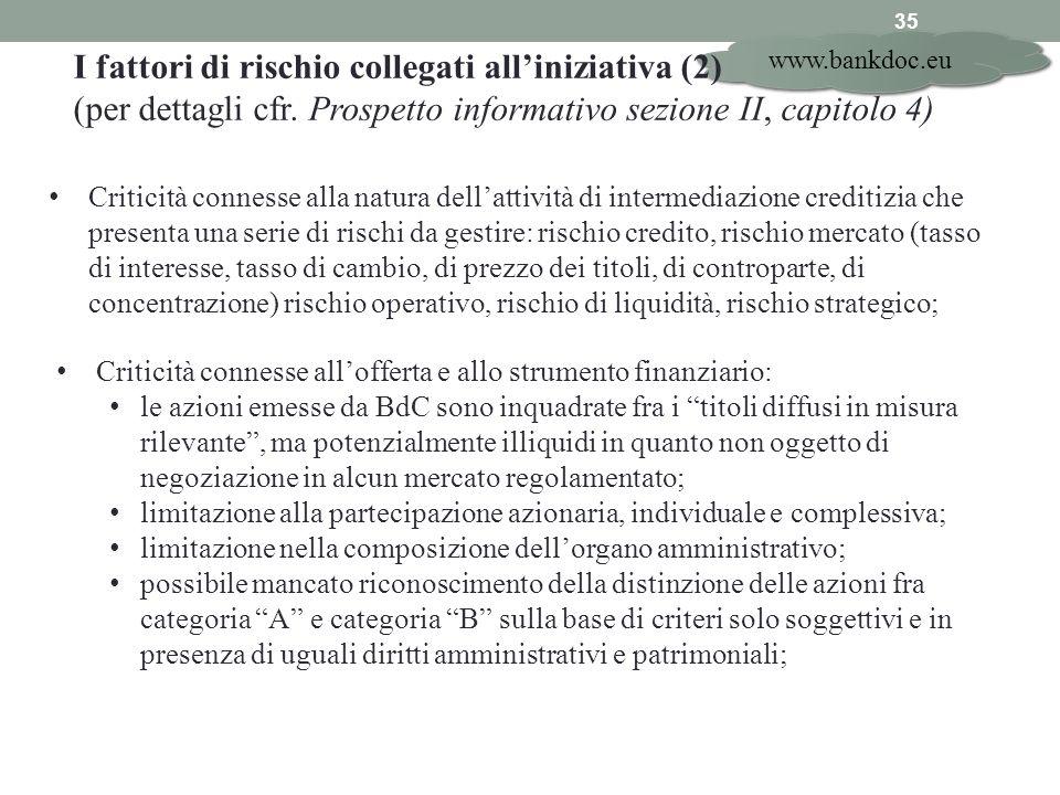 I fattori di rischio collegati all'iniziativa (2)