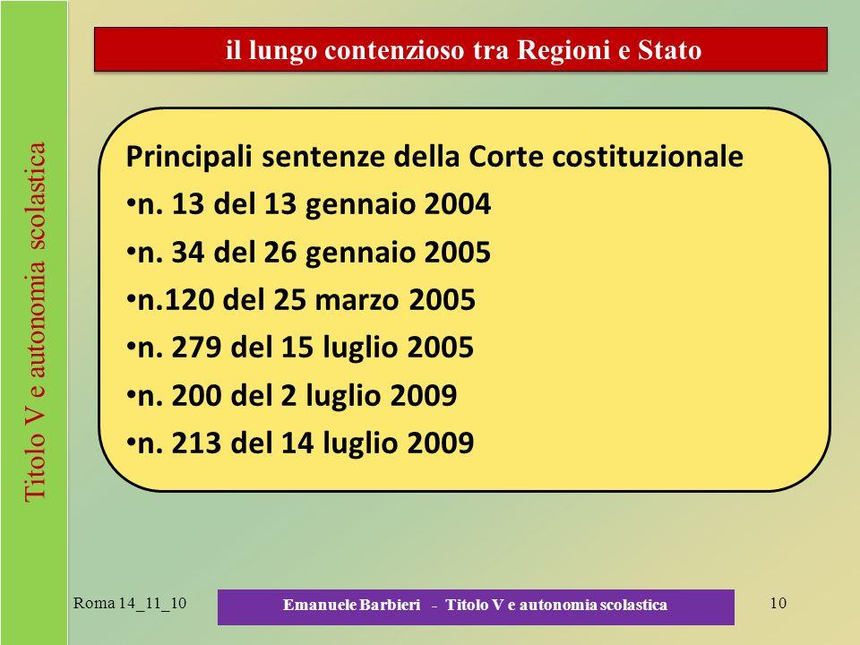 Principali sentenze della Corte costituzionale