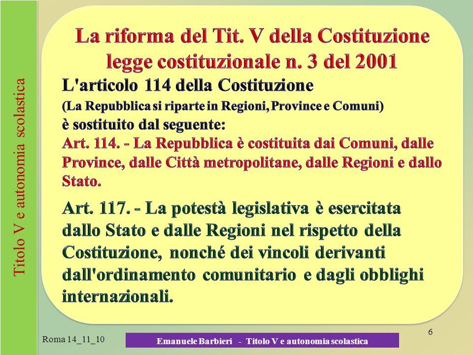 Emanuele Barbieri - Titolo V e autonomia scolastica