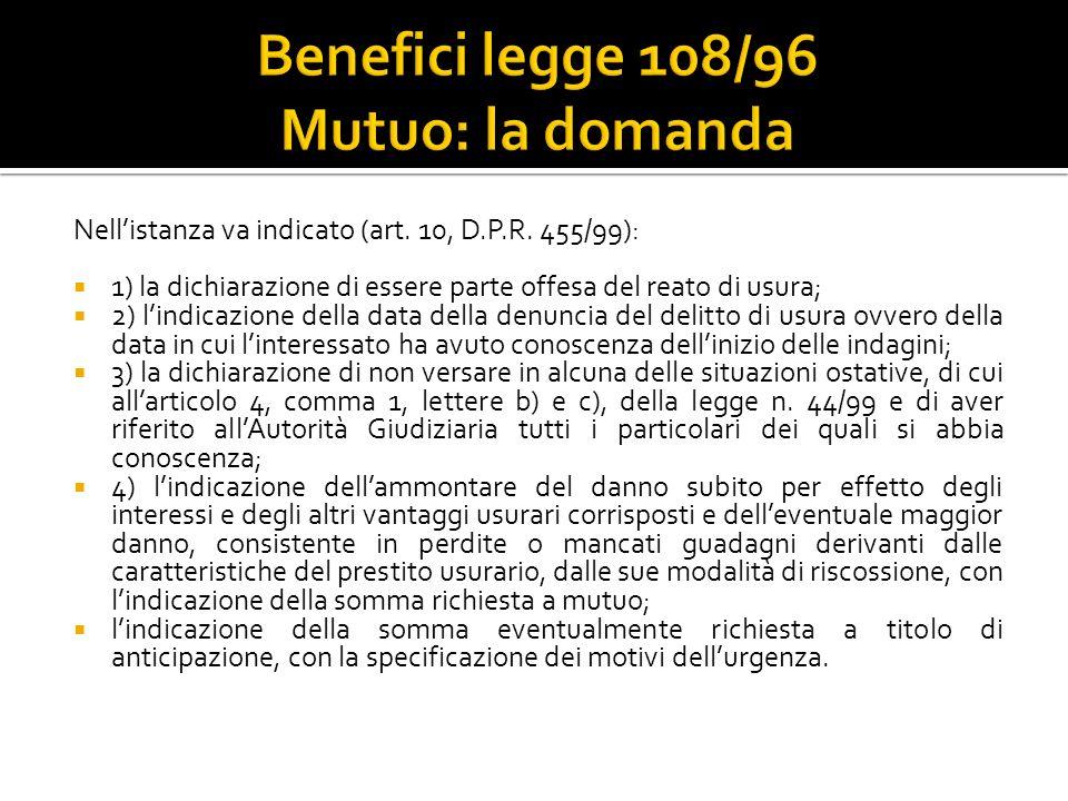 Benefici legge 108/96 Mutuo: la domanda