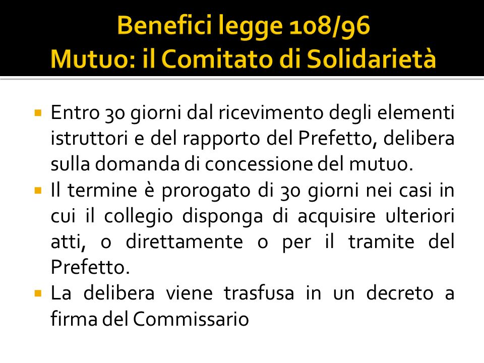 Benefici legge 108/96 Mutuo: il Comitato di Solidarietà