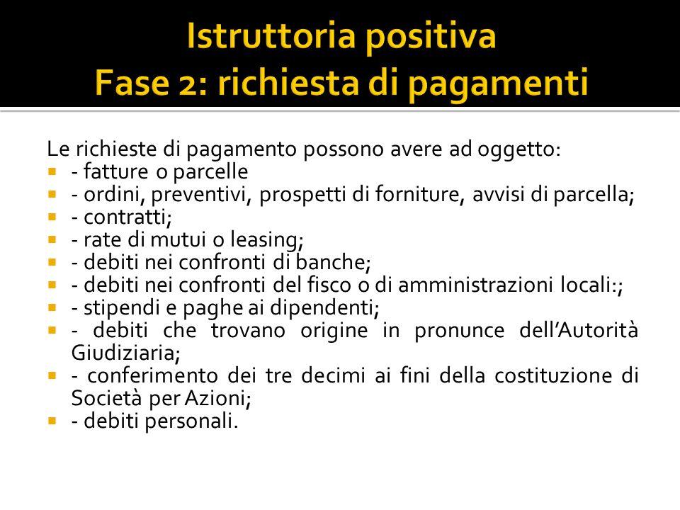 Istruttoria positiva Fase 2: richiesta di pagamenti