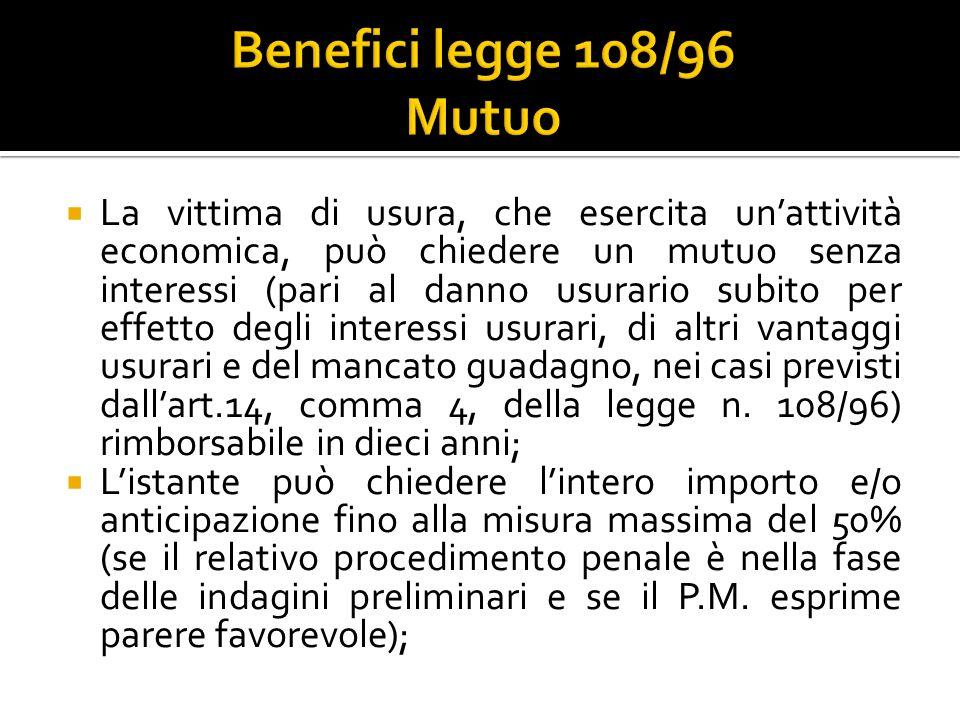 Benefici legge 108/96 Mutuo