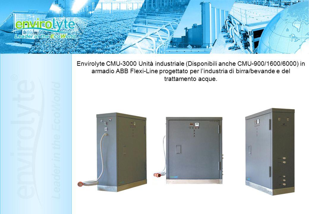 Envirolyte CMU-3000 Unità industriale (Disponibili anche CMU-900/1600/6000) in armadio ABB Flexi-Line progettato per l'industria di birra/bevande e del trattamento acque.