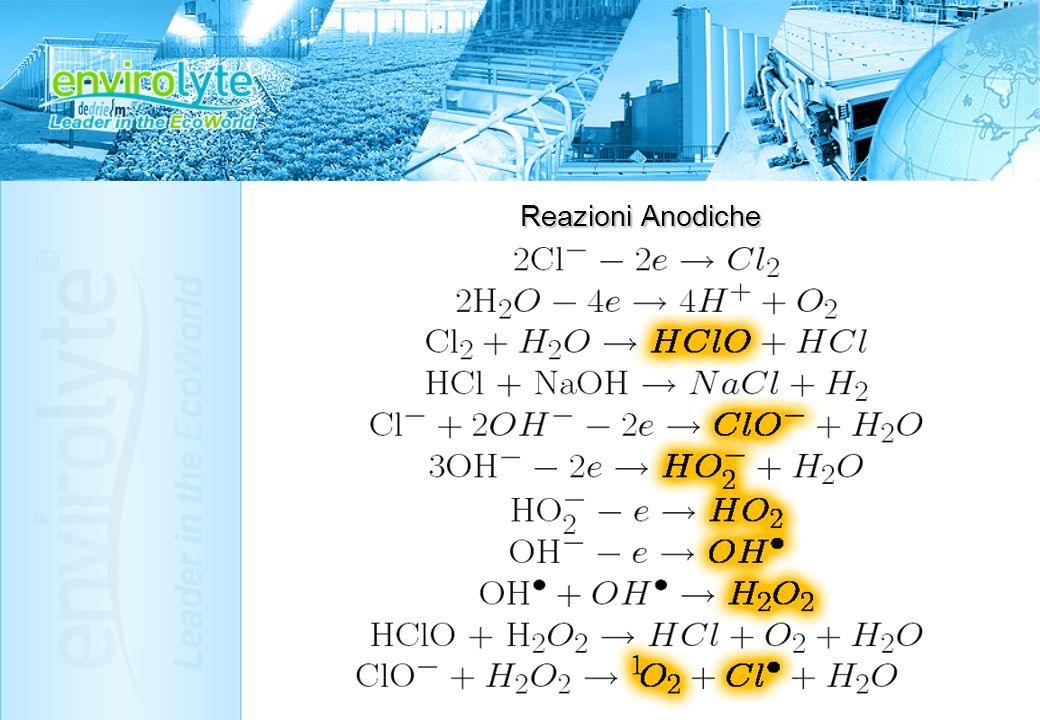 2Cl- - 2e → Cl2 2H2O – 4e → 4H+ + O2 Cl2 + H2O → HClO + HCl