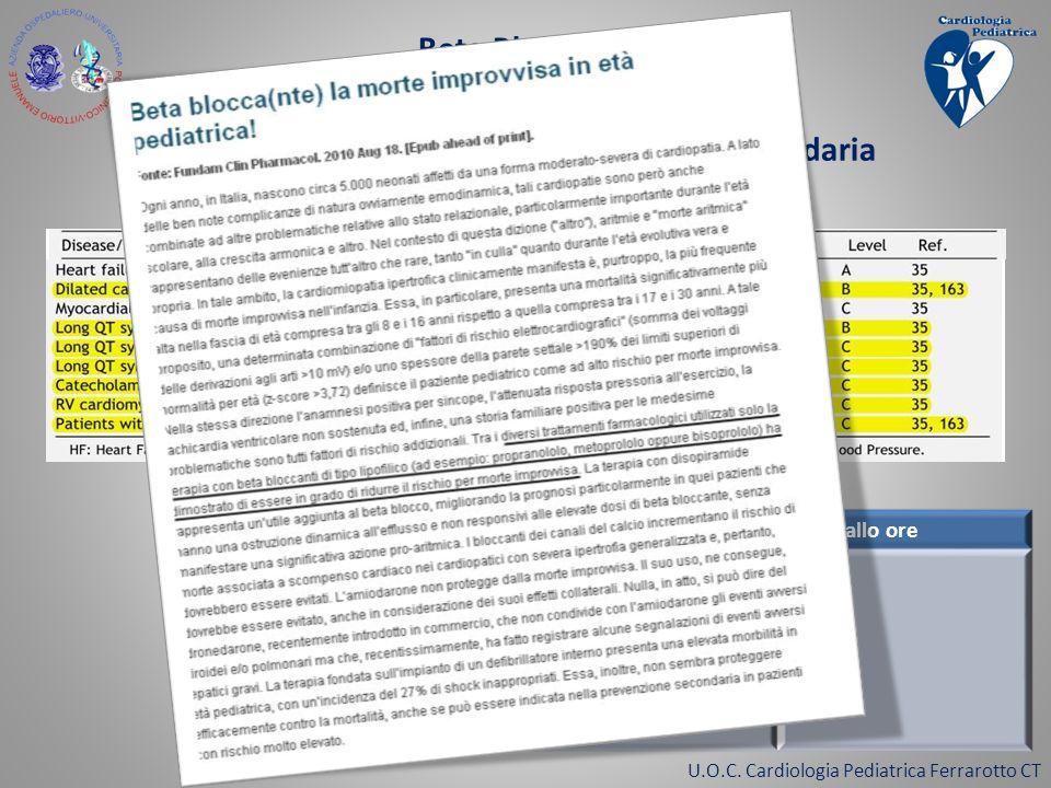 Beta Bloccanti e Prevenzione della morte improvvisa indicati nella prevenzione primaria e secondaria come stabilito dalle linee guida