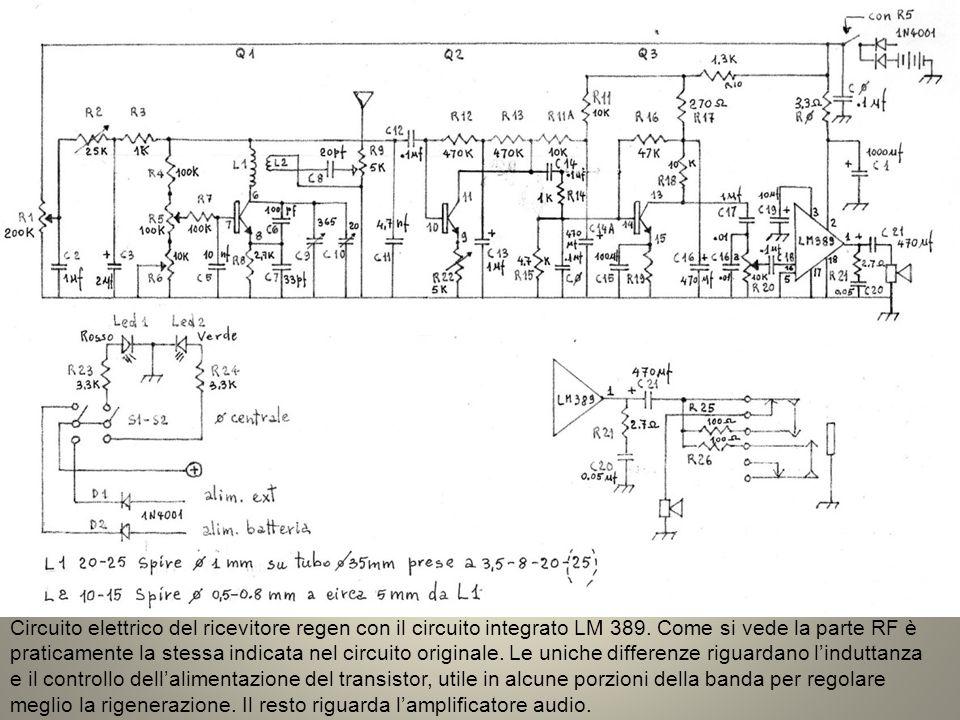 Circuito elettrico del ricevitore regen con il circuito integrato LM 389.