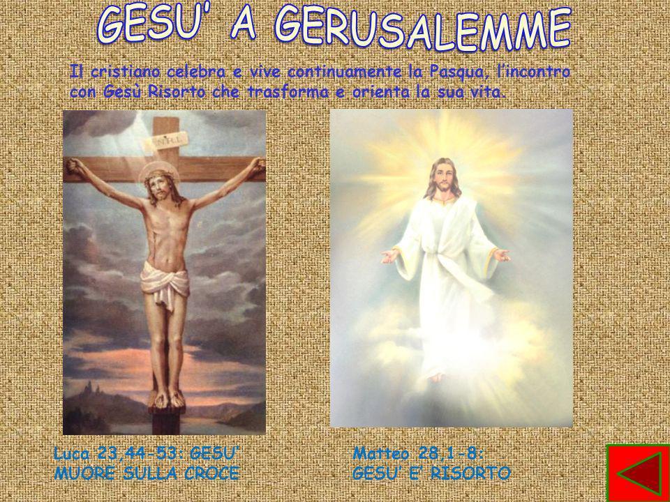 GESU' A GERUSALEMME Il cristiano celebra e vive continuamente la Pasqua, l'incontro con Gesù Risorto che trasforma e orienta la sua vita.