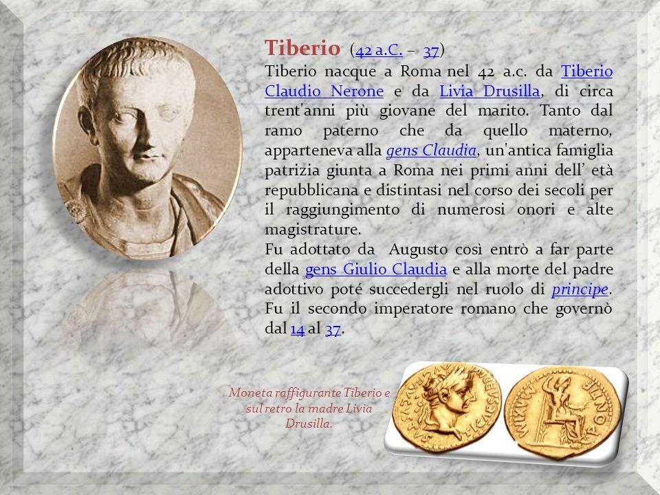 Moneta raffigurante Tiberio e sul retro la madre Livia Drusilla.