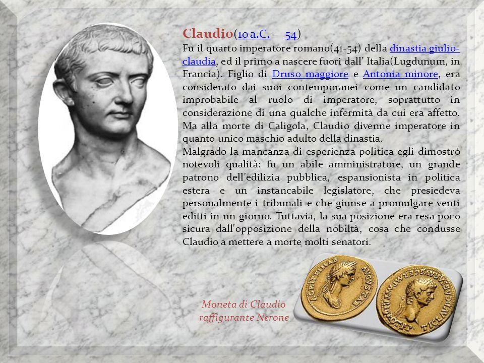 Moneta di Claudio raffigurante Nerone