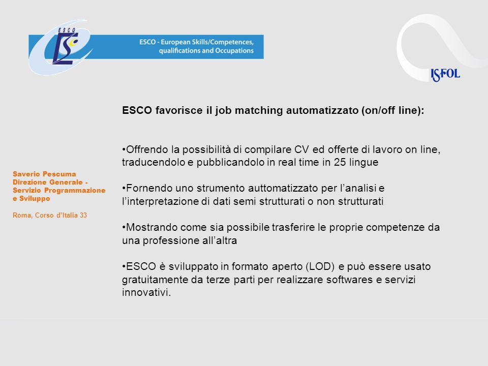 ESCO favorisce il job matching automatizzato (on/off line):