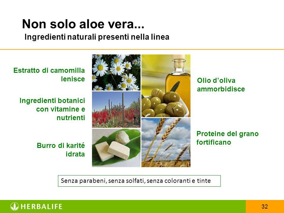 Non solo aloe vera... Ingredienti naturali presenti nella linea