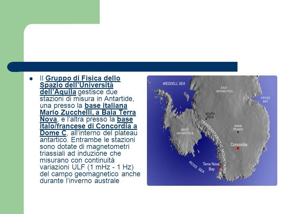 Il Gruppo di Fisica dello Spazio dell'Università dell'Aquila gestisce due stazioni di misura in Antartide, una presso la base italiana Mario Zucchelli, a Baia Terra Nova, e l'altra presso la base italo/francese di Concordia a Dome C, all'interno del plateau antartico.