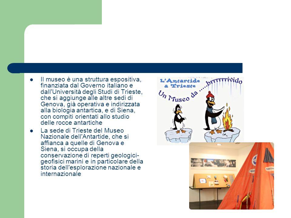 Il museo è una struttura espositiva, finanziata dal Governo italiano e dall Università degli Studi di Trieste, che si aggiunge alle altre sedi di Genova, già operativa e indirizzata alla biologia antartica, e di Siena, con compiti orientati allo studio delle rocce antartiche