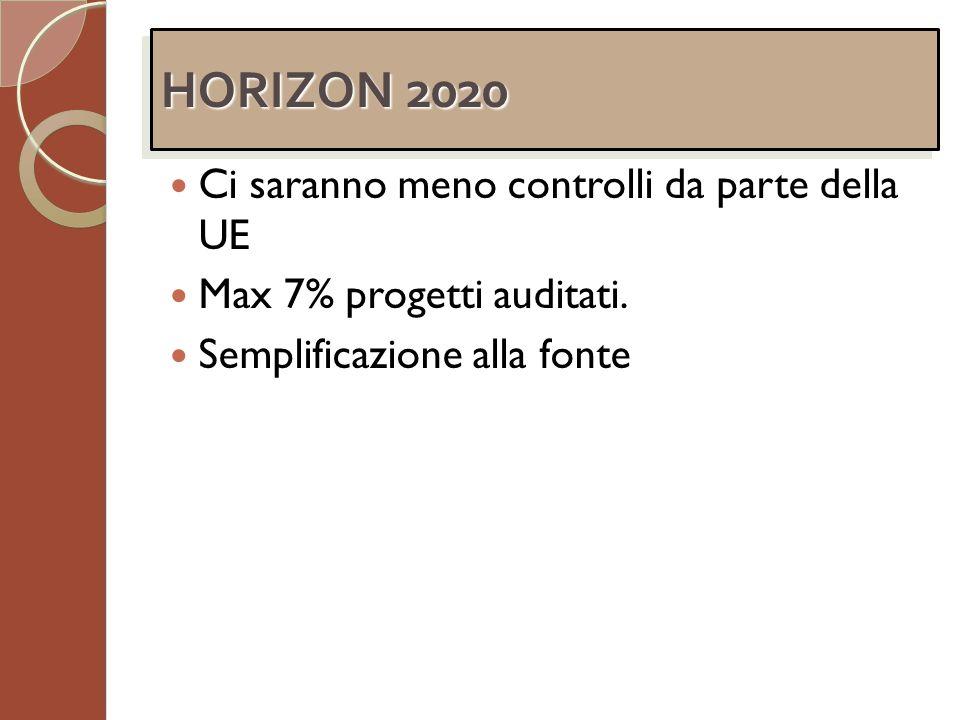 HORIZON 2020 Ci saranno meno controlli da parte della UE