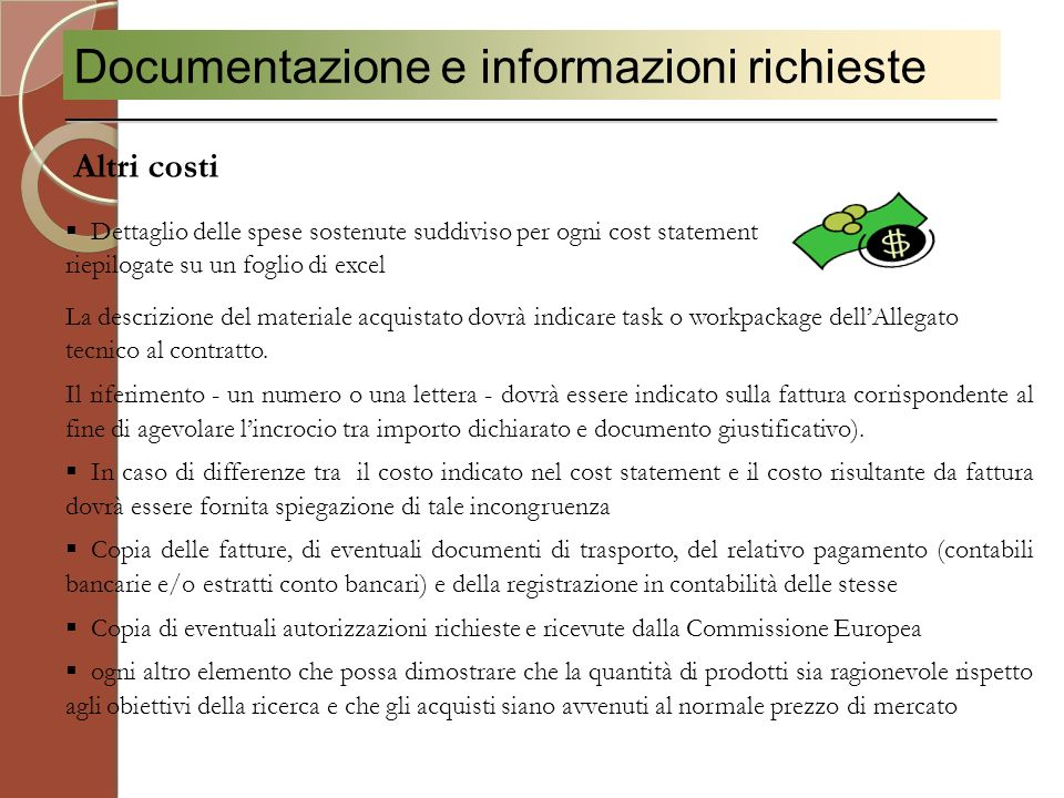 Documentazione e informazioni richieste