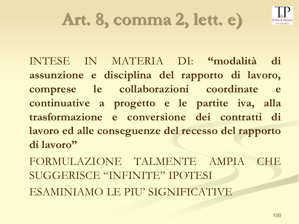 Art. 8, comma 2, lett. e)