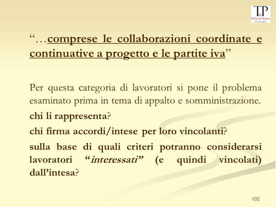 …comprese le collaborazioni coordinate e continuative a progetto e le partite iva