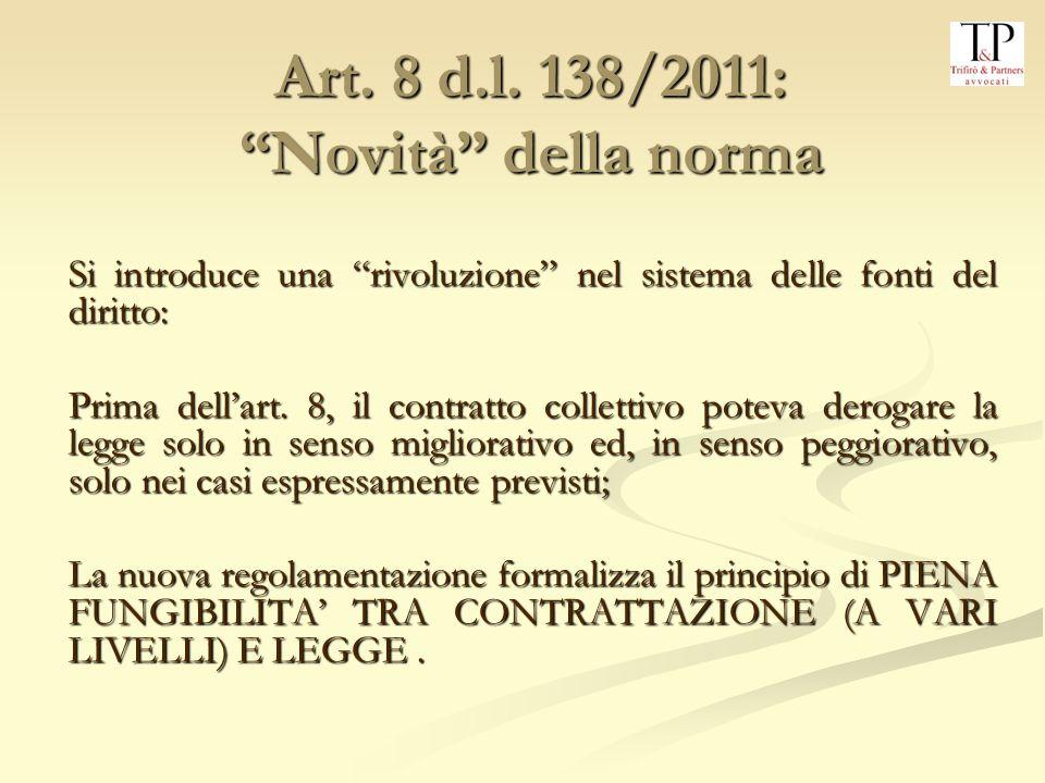 Art. 8 d.l. 138/2011: Novità della norma