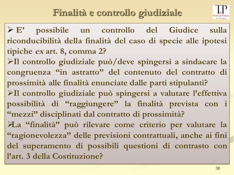 Finalità e controllo giudiziale