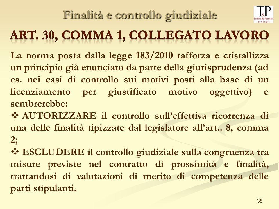 Finalità e controllo giudiziale Art. 30, comma 1, collegato lavoro