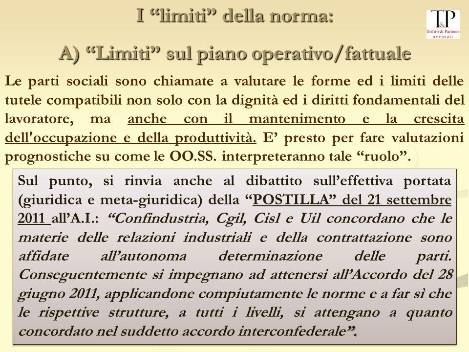 I limiti della norma: A) Limiti sul piano operativo/fattuale