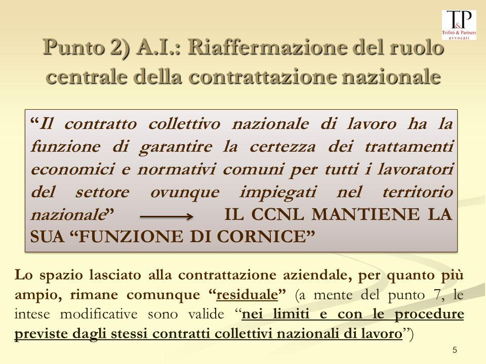 Punto 2) A.I.: Riaffermazione del ruolo centrale della contrattazione nazionale