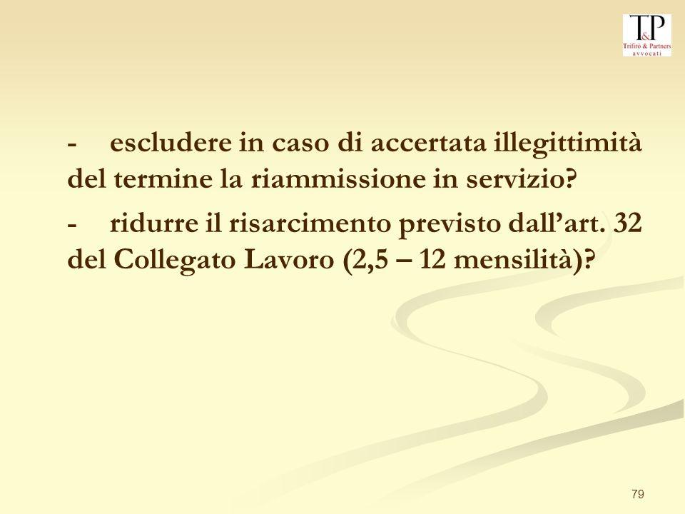 - escludere in caso di accertata illegittimità del termine la riammissione in servizio