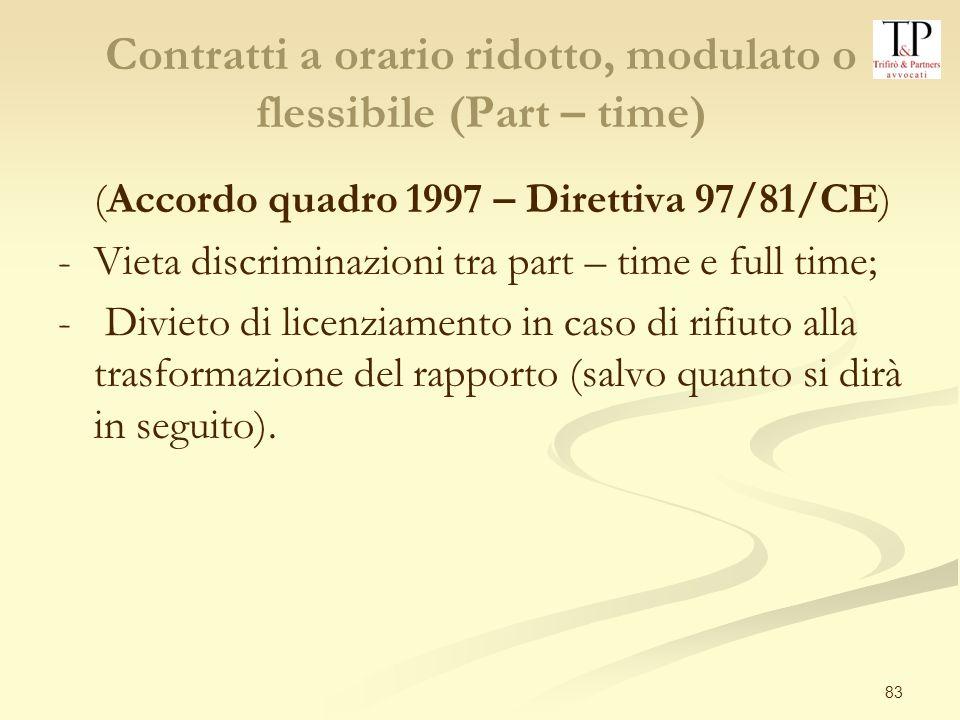 Contratti a orario ridotto, modulato o flessibile (Part – time)