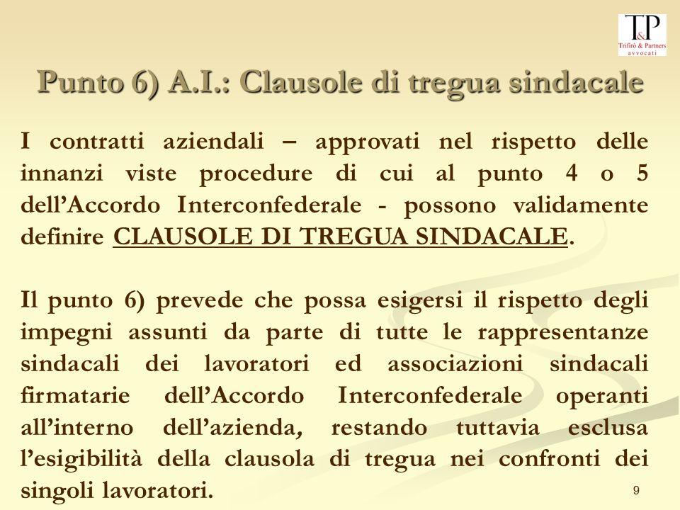 Punto 6) A.I.: Clausole di tregua sindacale