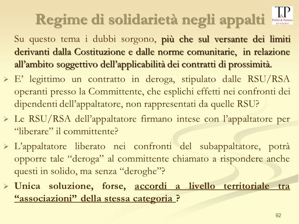 Regime di solidarietà negli appalti