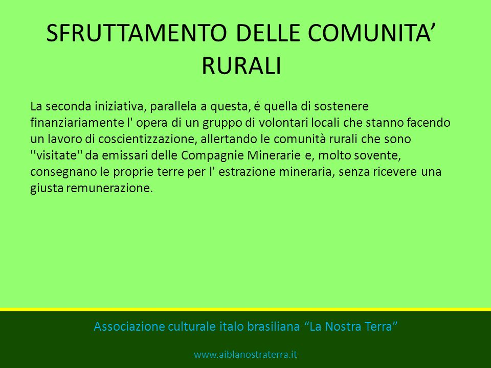 SFRUTTAMENTO DELLE COMUNITA' RURALI