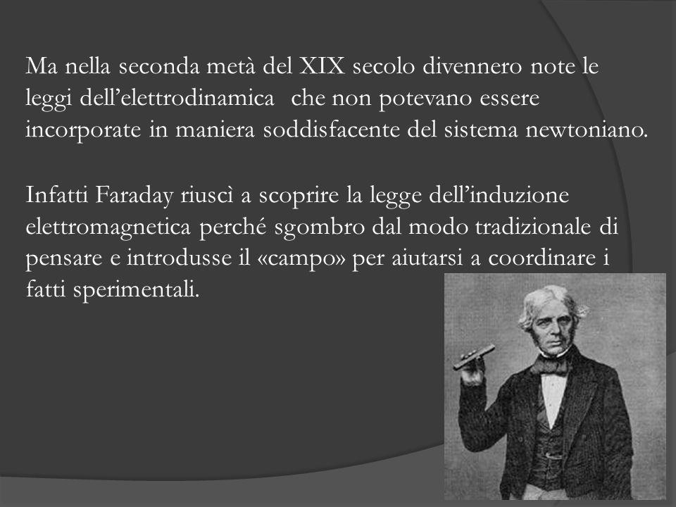 Ma nella seconda metà del XIX secolo divennero note le leggi dell'elettrodinamica che non potevano essere incorporate in maniera soddisfacente del sistema newtoniano.