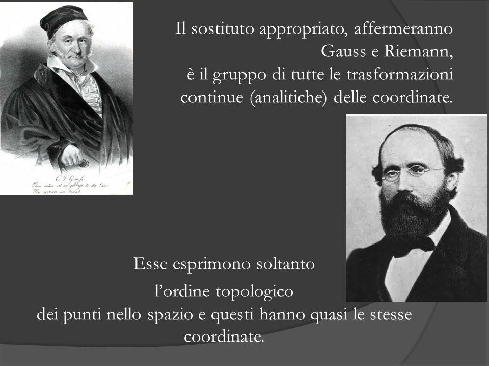 Il sostituto appropriato, affermeranno Gauss e Riemann, è il gruppo di tutte le trasformazioni continue (analitiche) delle coordinate.