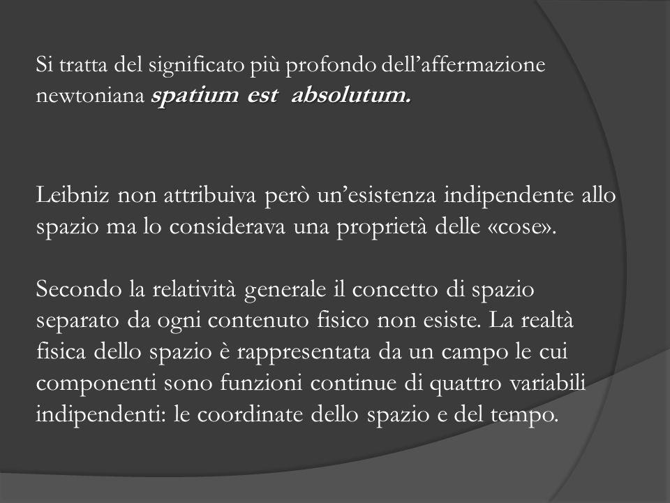 Si tratta del significato più profondo dell'affermazione newtoniana spatium est absolutum.