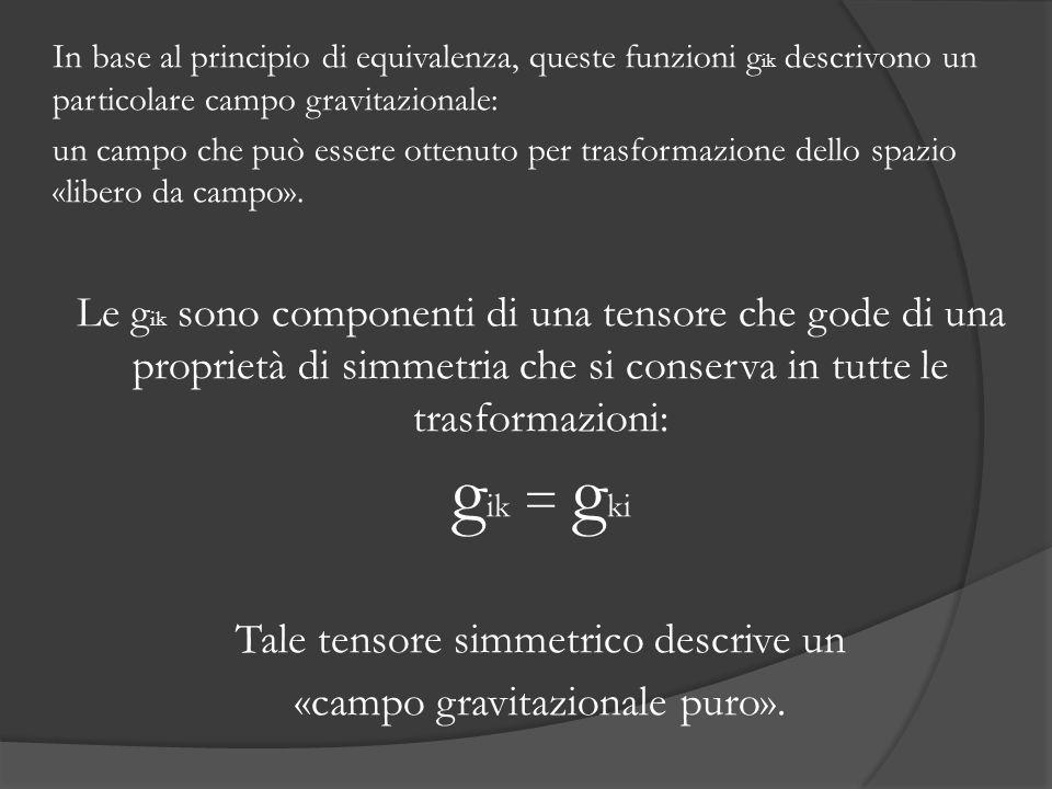 Tale tensore simmetrico descrive un «campo gravitazionale puro».