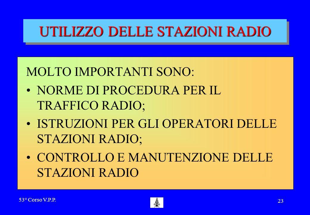 UTILIZZO DELLE STAZIONI RADIO