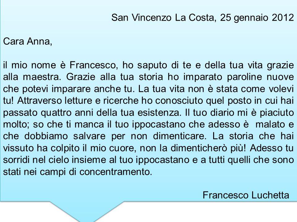 San Vincenzo La Costa, 25 gennaio 2012