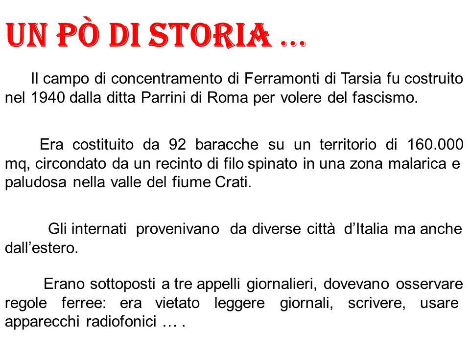 Un pò di storia … Il campo di concentramento di Ferramonti di Tarsia fu costruito nel 1940 dalla ditta Parrini di Roma per volere del fascismo.