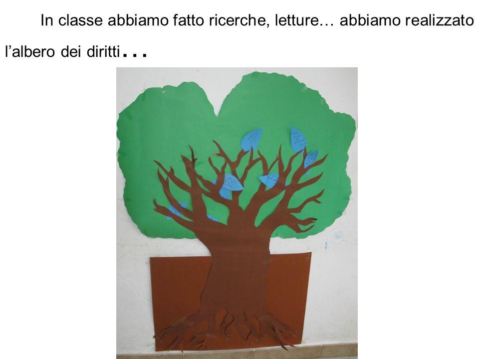 In classe abbiamo fatto ricerche, letture… abbiamo realizzato l'albero dei diritti…