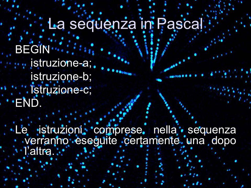 La sequenza in Pascal BEGIN istruzione-a; istruzione-b; Istruzione-c;