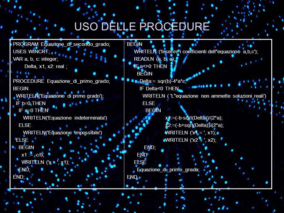 USO DELLE PROCEDURE PROGRAM Equazione_di_secondo_grado; USES WINCRT;