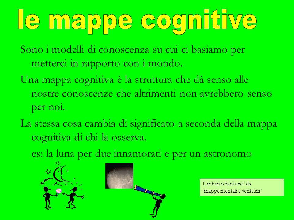le mappe cognitive Sono i modelli di conoscenza su cui ci basiamo per metterci in rapporto con i mondo.