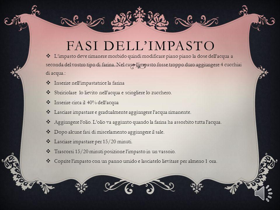 FASI DELL'IMPASTO