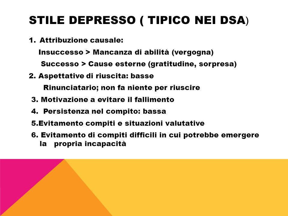 Stile depresso ( tipico nei dsa)